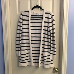 NWOT old navy white and blue striped knit cardigan